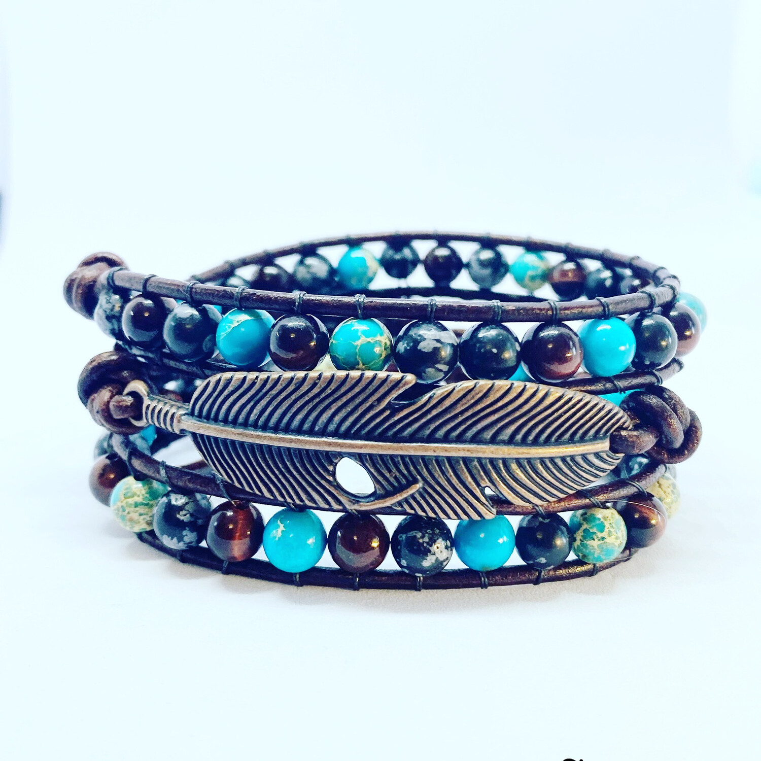 Feather Sea Sediment, Snowflake Obsidian Wrap Bracelet