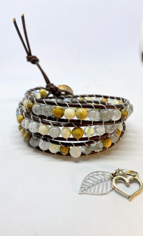 Picture Jasper, Grey Quartz & Opalite Wrap Bracelet