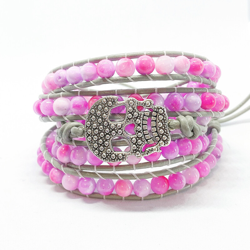 Pink Agate Skull Collection 5 Wrap