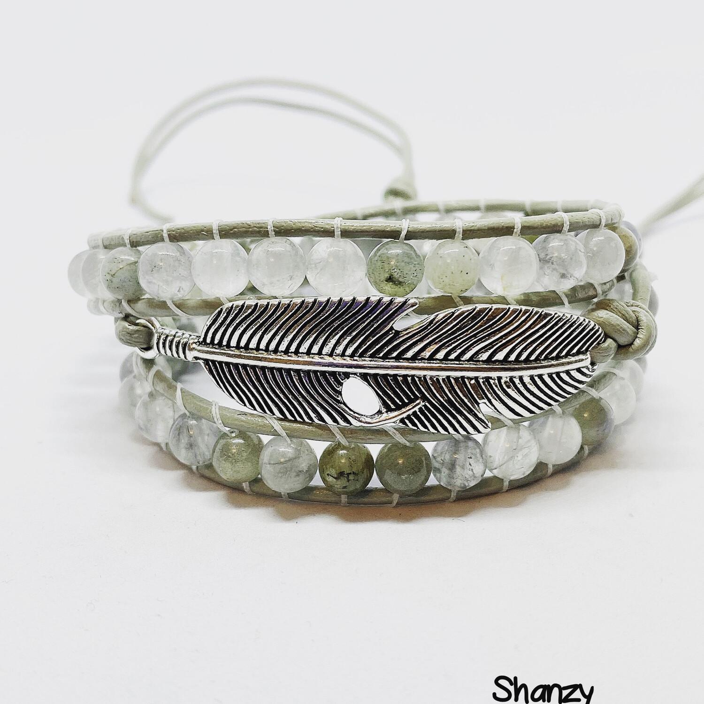 Feather Labradorite Quartz Wrap Bracelet