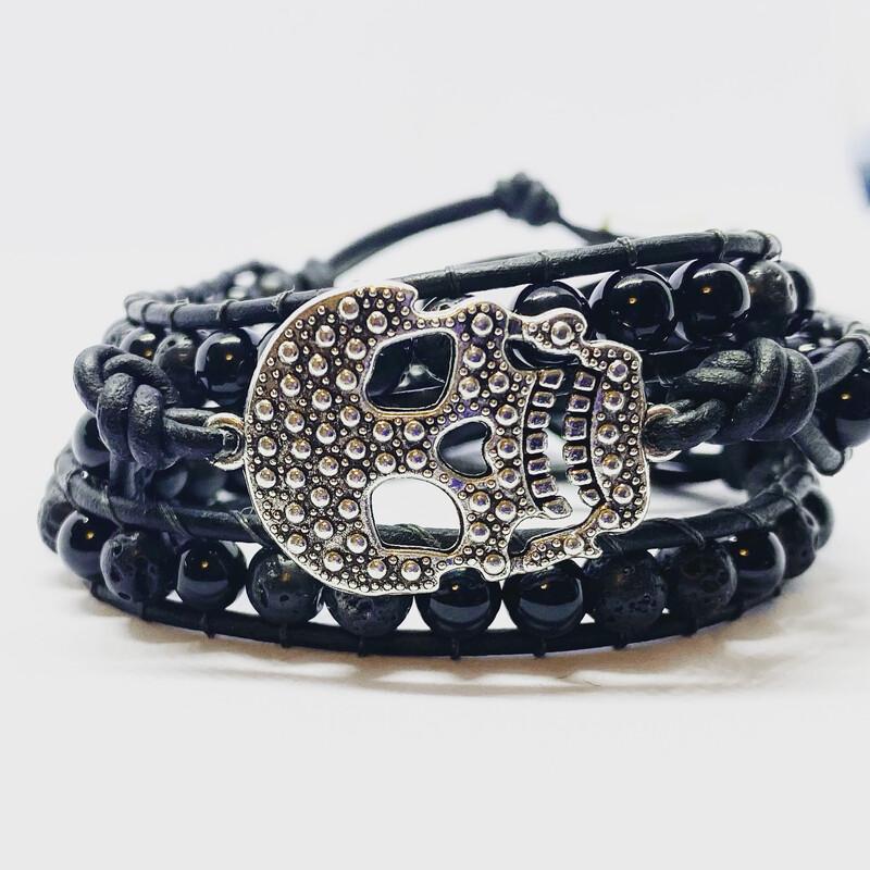 Skull Black Obsidian & Lava Wrap Bracelet