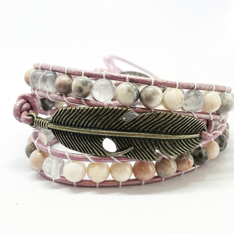 Feather Pink Zebra Jasper, Quartz Wrap Bracelet
