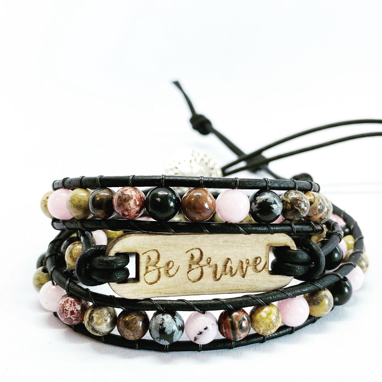 Be Brave Wrap Bracelet Snowflake,cherry Jasper, Leopardskin Jasper