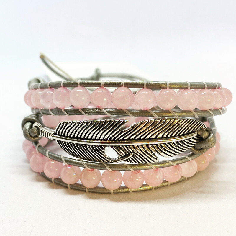 Rose Quartz Feather Wrap Bracelet