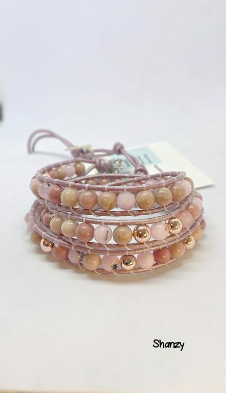 Rose Hematite, Rhodonite, Cherry Jasper Wrap Bracelet