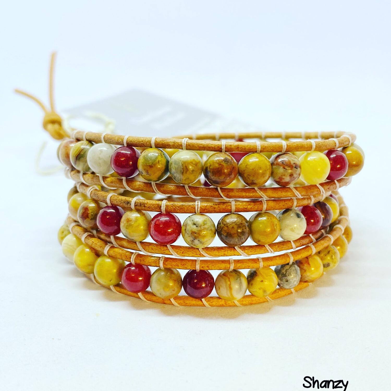 Crazy Lace & Jade Wrap Bracelet