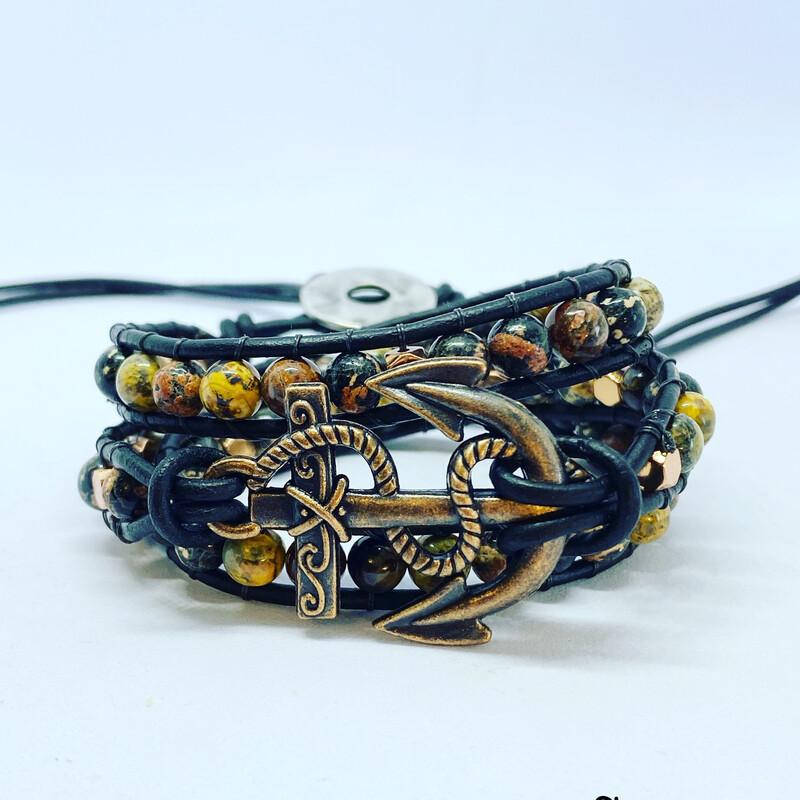 Anchor Leopardskin Jasper, Black Obsidian Wrap Bracelet