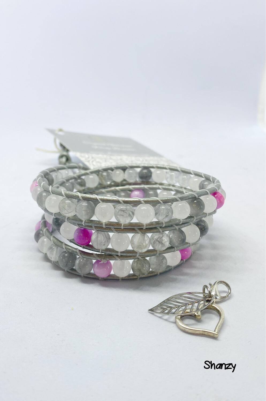 Grey Quartz, Snow Jade Wrap Bracelet