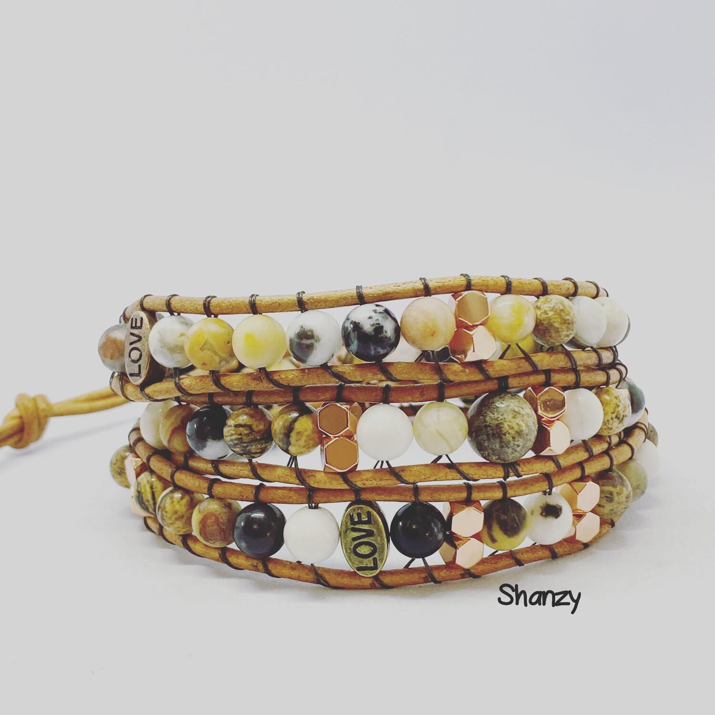 Zebra Jasper, Hematite, Crazy Lace  Agate Wrap Bracelet