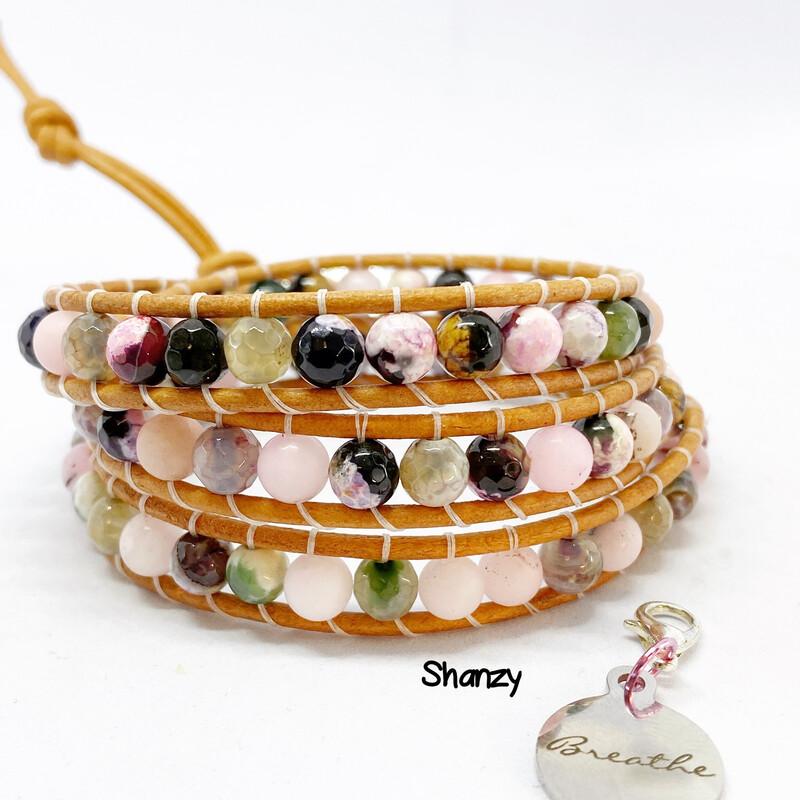 Agate, Rose Quartz Wrap Bracelet