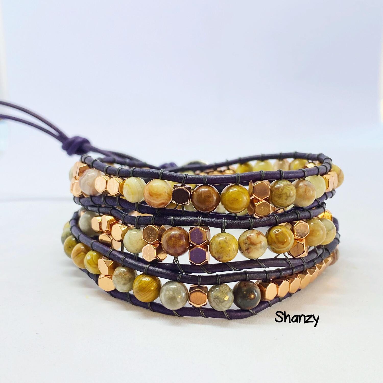 Hematite, Crazy Lace Agate Wrap Bracelet