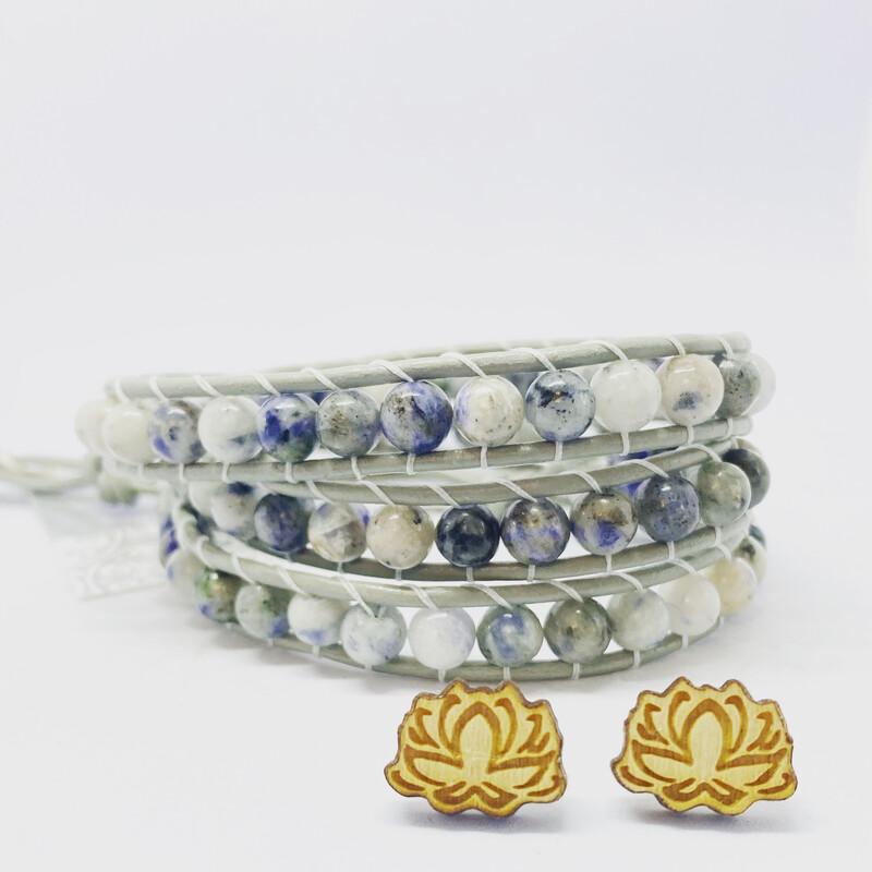 Sodalite Wrap Bracelet W Lotus Earrings