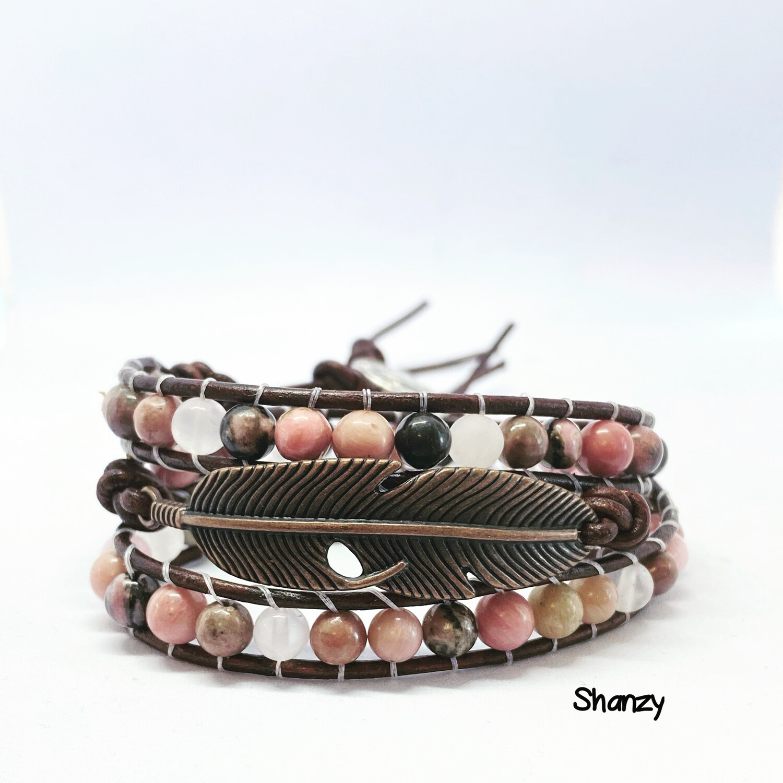 Rose Quartz, Rhodonitre Feather Wrap Bracelet