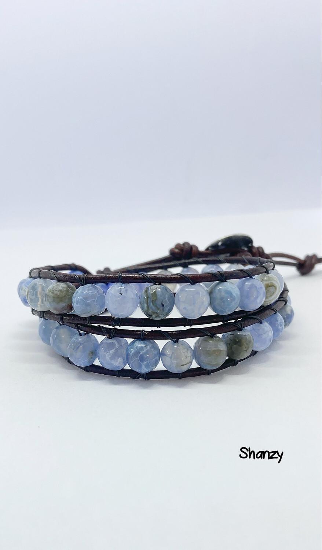 Blue Agate 2-Wrap Bracelet