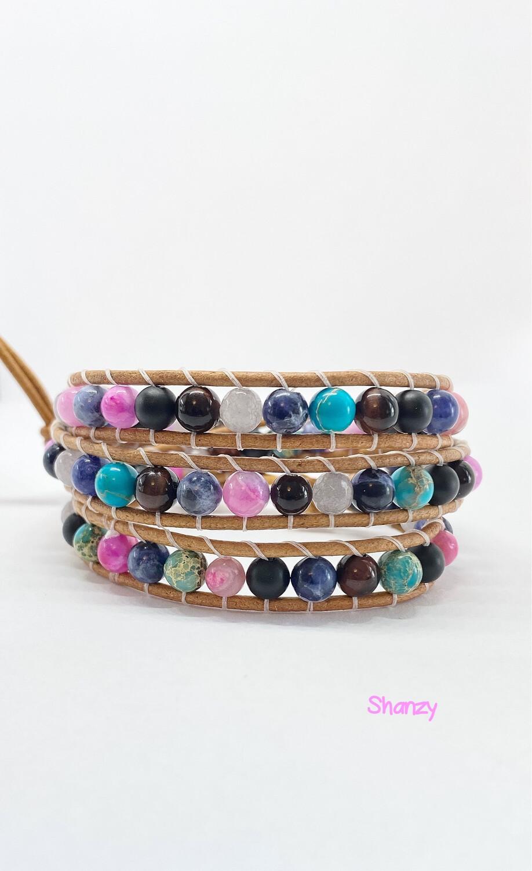 Jasper, Agate, Sodalite, Tigers Eye Wrap Bracelet