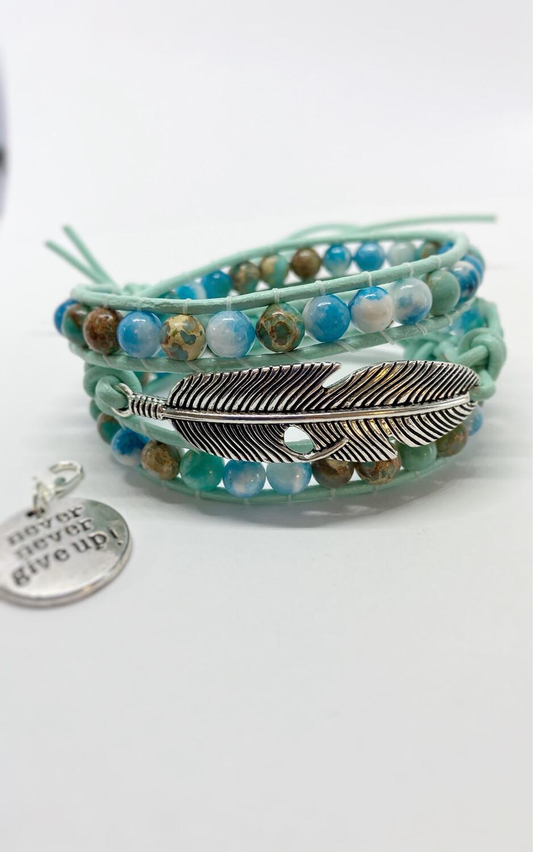 Agate Feather Wrap Bracelet