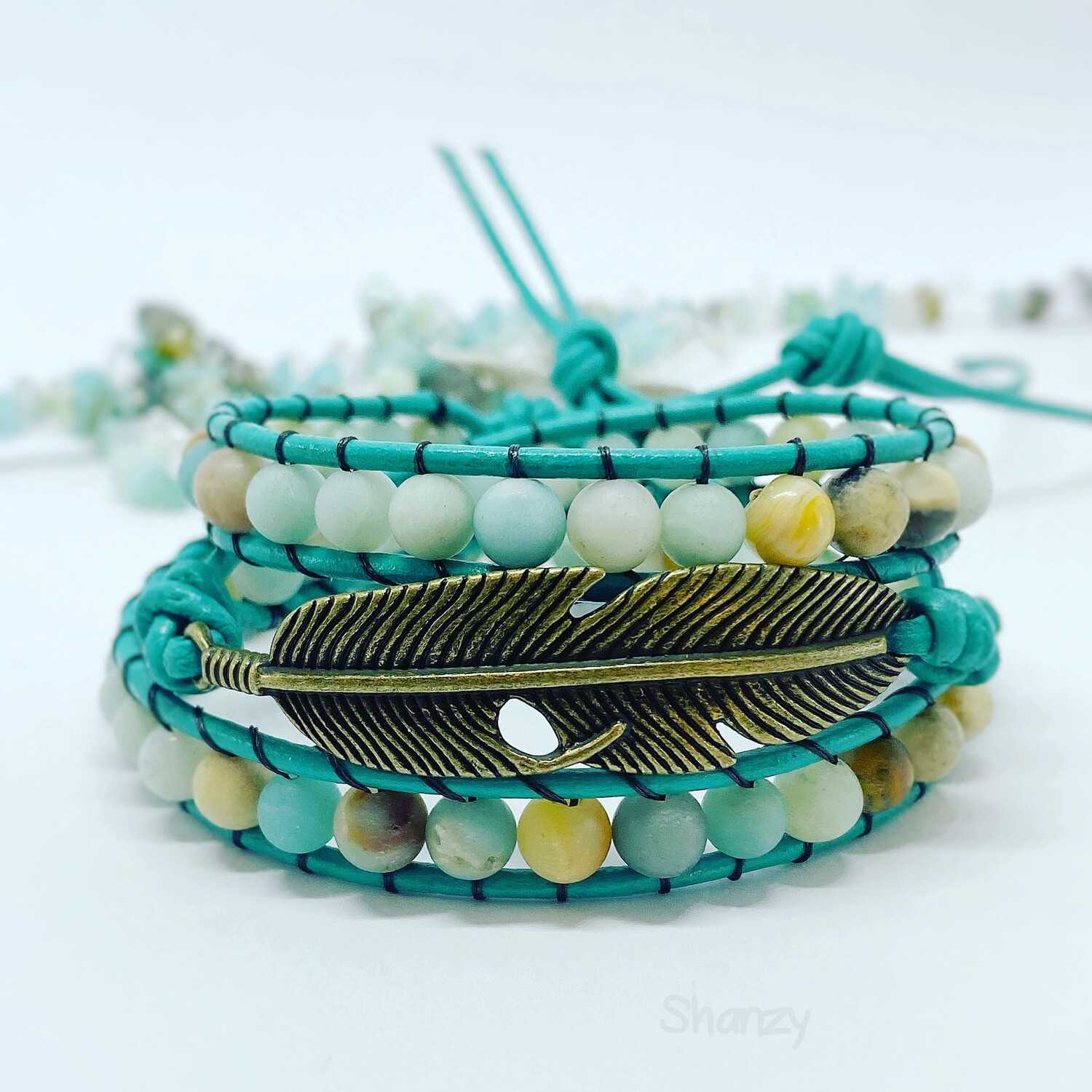 Amazonite Feather Wrap Bracelet