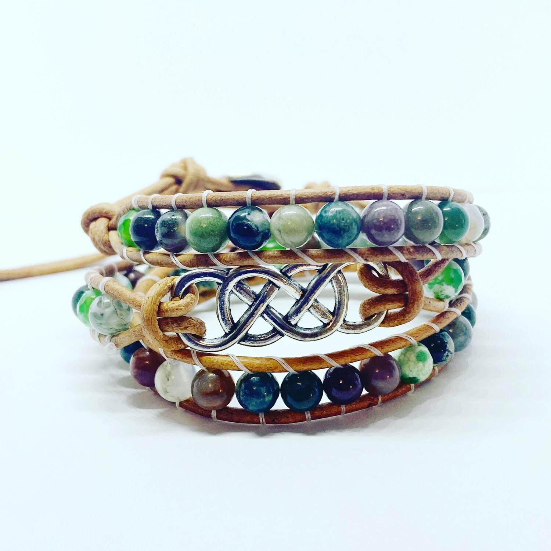Agate Infinity Wrap Bracelet