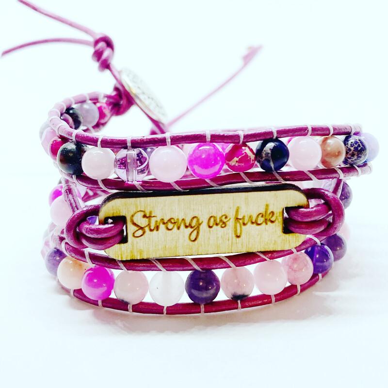 Strong As f Wrap Bracelet Agate & Jade