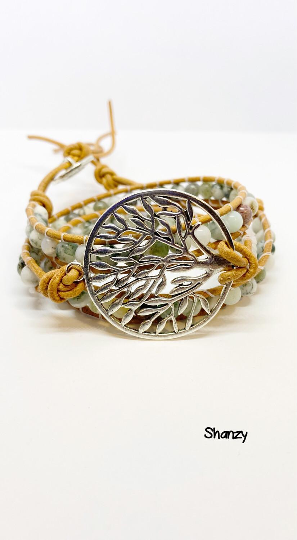 Tree Of Life Agate Wrap Bracelet
