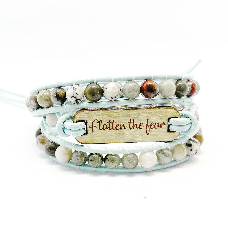 Flatten the fear Agate Wrap Bracelet
