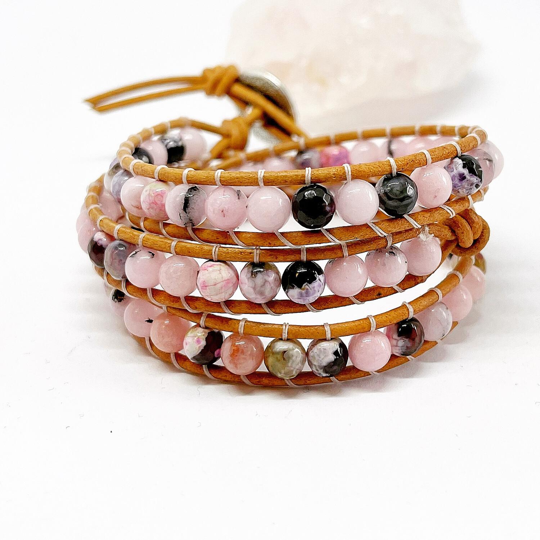 Cherry Jasper & Agate Wrap Bracelet