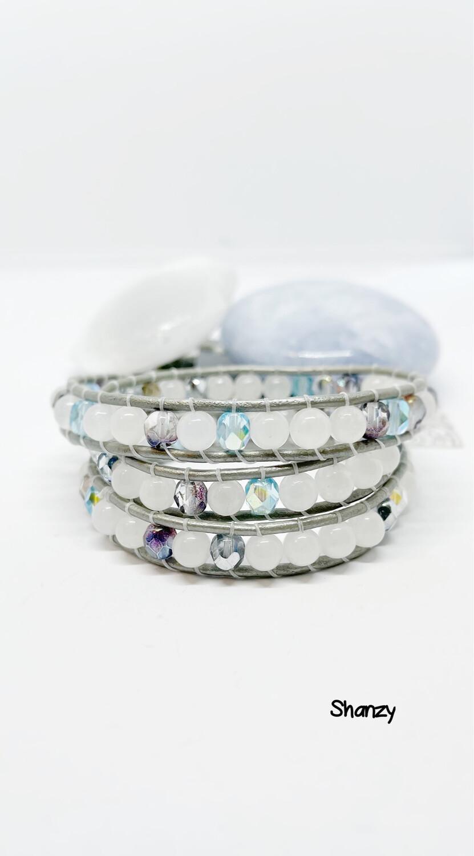 Snow Jade, Czech Wrap Bracelet