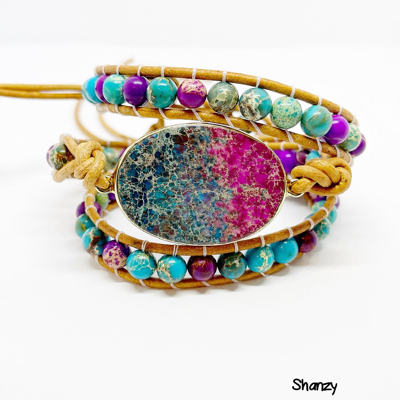 Sea Sediment Stone Wrap Bracelet