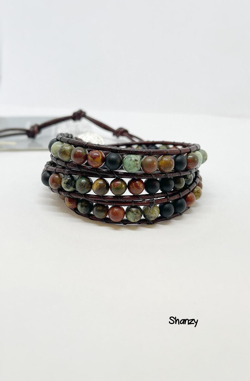 Black Obsidian, African Turquoise & Blood Stone Wrap Bracelet