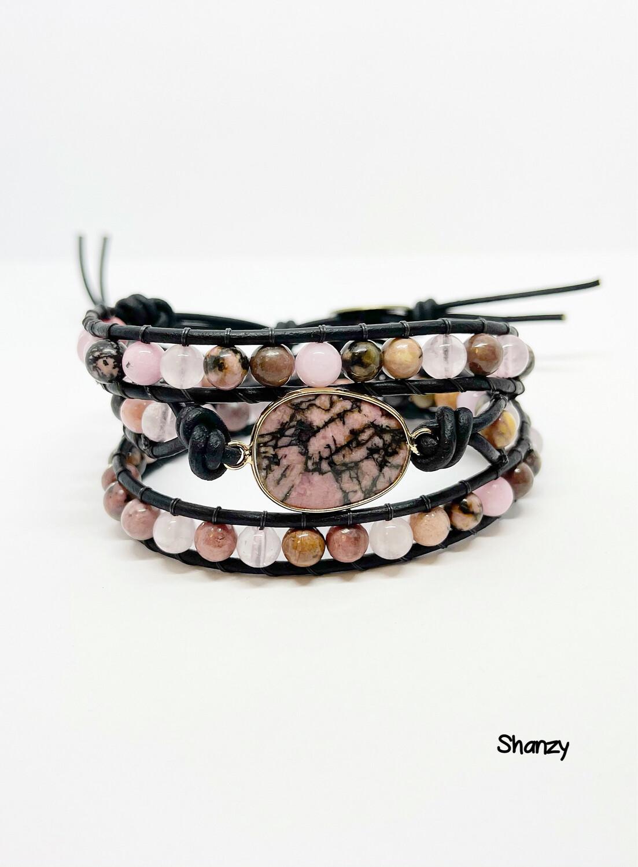 Rhodonite Middle Stone Wrap Bracelet