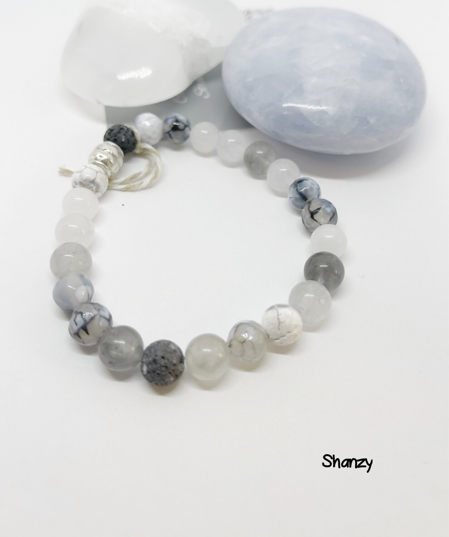Agate Quartz & Jade Stretch Bracelet