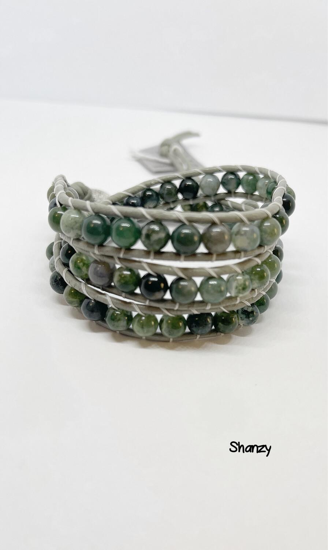 Green Miss Agate Wrap Bracelet