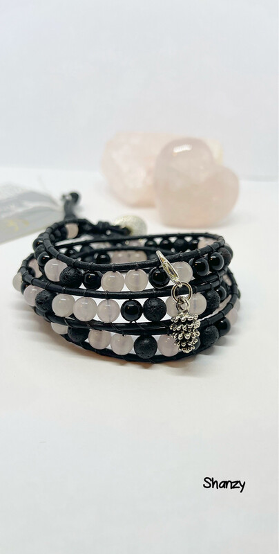 Rose Quartz & Black Obsidian Wrap Bracelet