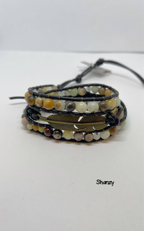 Amazonite Feather Wrap Bracelet