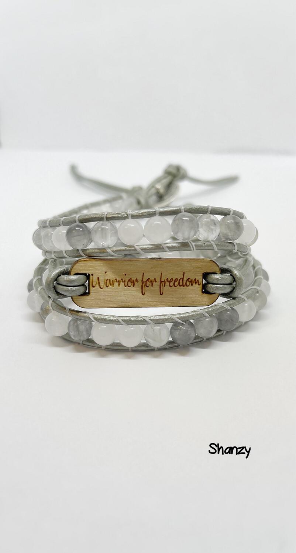 Warrior For Freedom Quartz & Jade Wrap Bracelet