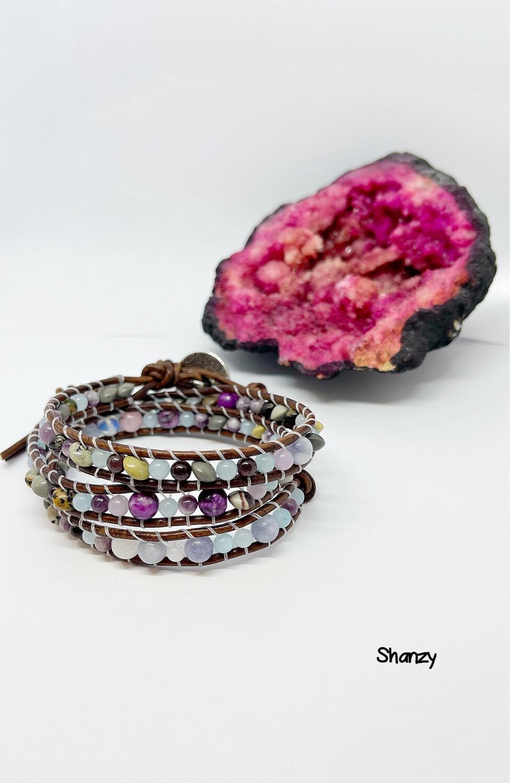 Jade & Agate Wrap Bracelet