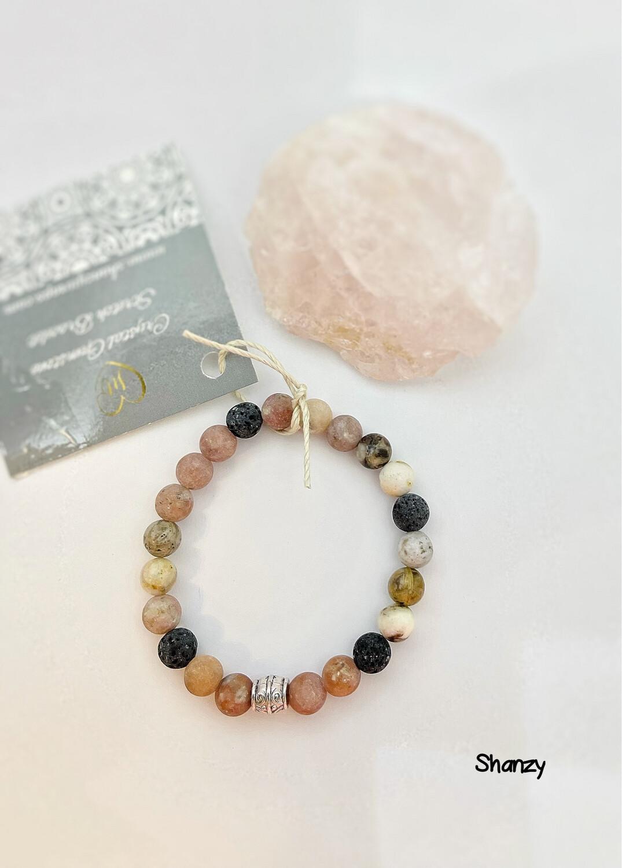 Rhodonite & Agate Stretch Bracelet