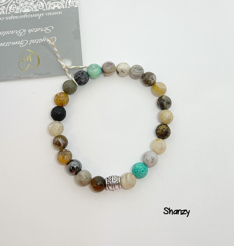 Hematite, Agate & Magnesite Stretch Bracelet