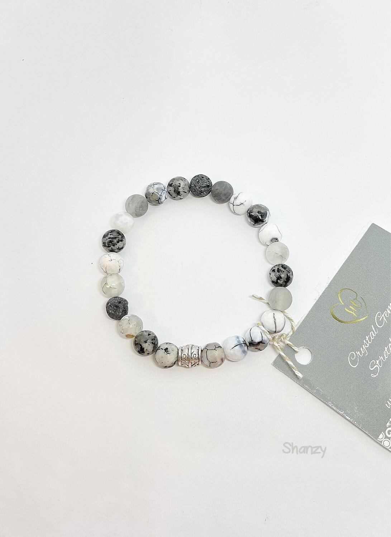 Agate, Sesame Jasper & Agate Stretch Bracelet