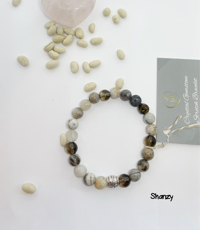 Smokey Quartz, Bamboo Agate Stretch Bracelet