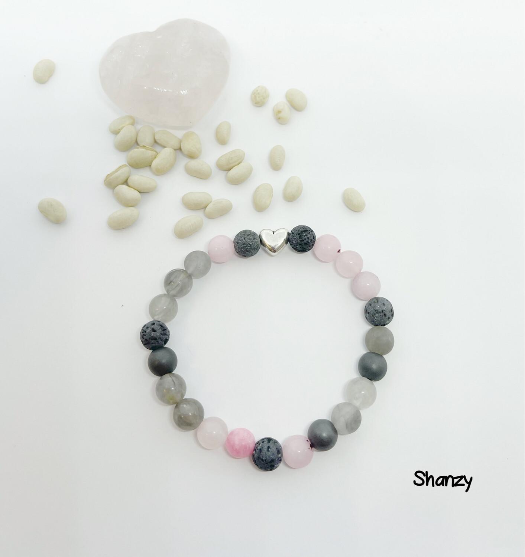Cherry Blossom, Hematite & Quartz Stretch Bracelet