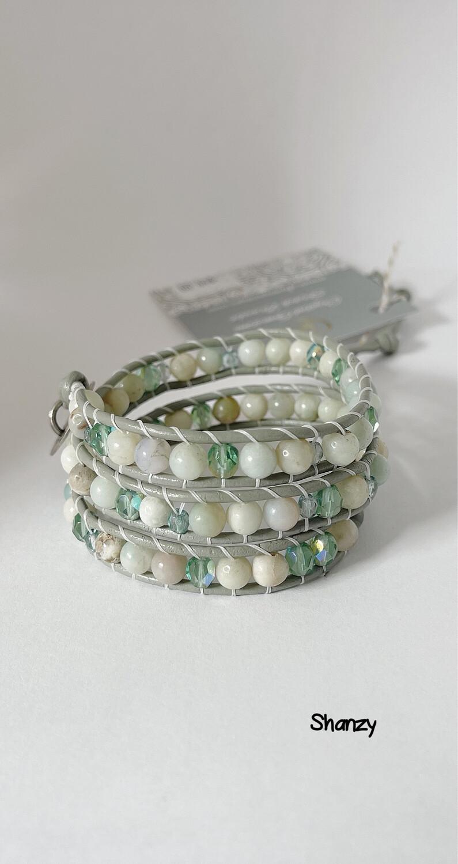 Amazonite Czech Glass Wrap Bracelet