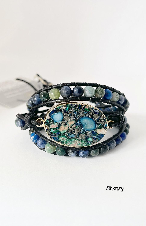 Sea Sediment Wrap, Sodalite Bracelet