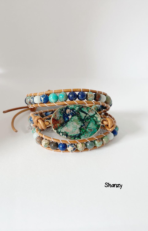 Sea Sediment Jasper, Amazonite Wrap Bracelet