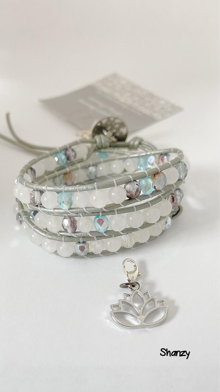 Snow Jade & Czech Glass Wrap Bracelet