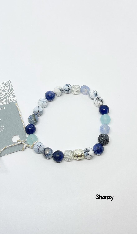 Agate, Sodalite Jade Stretch Bracelet