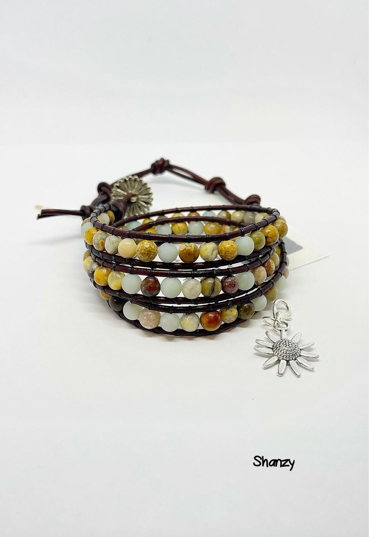 Picture Jasper & Amazonite Wrap Bracelet