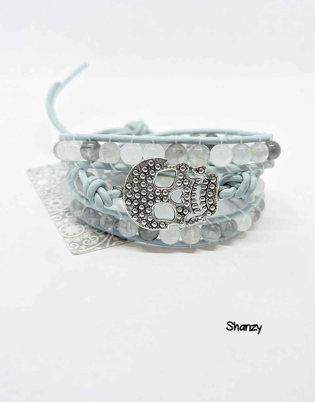 Quartz & Jade Wrap Bracelet