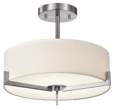 Zaira Pendant - DC6 Series - Fiber linen shaded, round LED surface mount light - 2 sizes