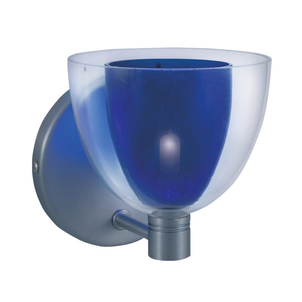 1-Light Wall Sconce LINA - Series 215 - Blue & Satin Nickel